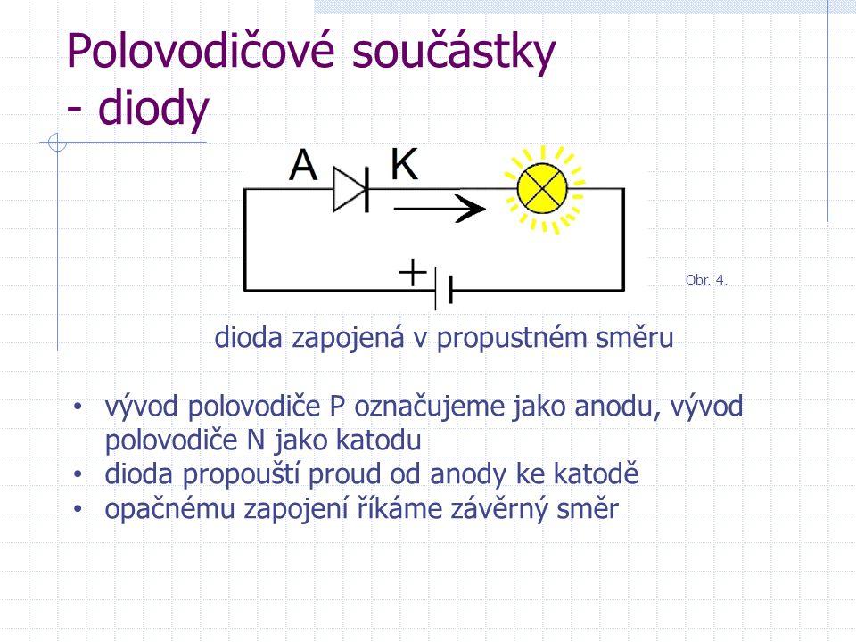 Polovodičové součástky - diody dioda zapojená v propustném směru vývod polovodiče P označujeme jako anodu, vývod polovodiče N jako katodu dioda propou