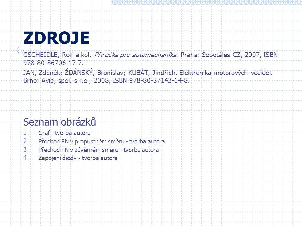 ZDROJE GSCHEIDLE, Rolf a kol. Příručka pro automechanika. Praha: Sobotáles CZ, 2007, ISBN 978-80-86706-17-7. JAN, Zdeněk; ŽDÁNSKÝ, Bronislav; KUBÁT, J