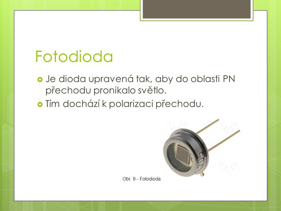 Fotodioda  Je dioda upravená tak, aby do oblasti PN přechodu pronikalo světlo.  Tím dochází k polarizaci přechodu. Obr. 9 - Fotodioda