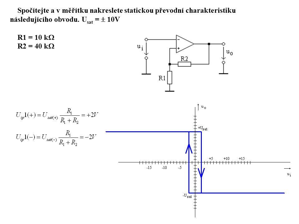 Spočítejte a v měřítku nakreslete statickou převodní charakteristiku následujícího obvodu.