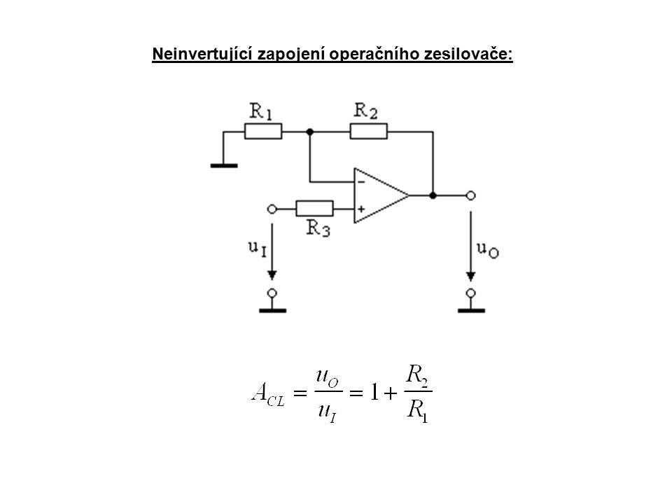 Nelineární aplikace OZ Napěťový komparátor: Zřejmě nejjednodušší aplikací OZ je tzv.