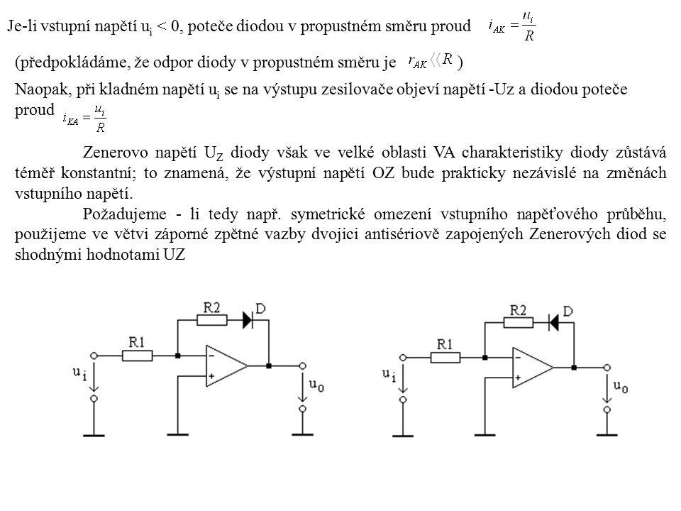 Je-li vstupní napětí u i < 0, poteče diodou v propustném směru proud (předpokládáme, že odpor diody v propustném směru je ) Naopak, při kladném napětí u i se na výstupu zesilovače objeví napětí -Uz a diodou poteče proud Zenerovo napětí U Z diody však ve velké oblasti VA charakteristiky diody zůstává téměř konstantní; to znamená, že výstupní napětí OZ bude prakticky nezávislé na změnách vstupního napětí.