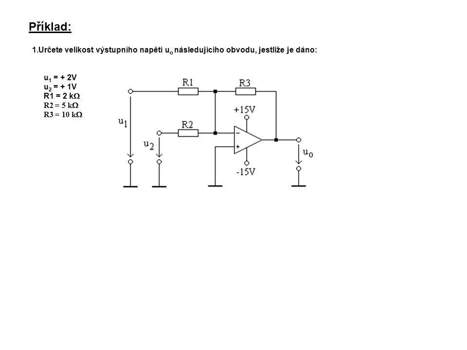 Nakreslete v měřítku statickou převodní charakteristiku následujícího obvodu: