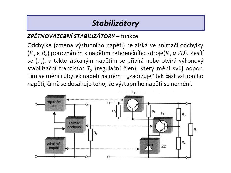 ZPĚTNOVAZEBNÍ STABILIZÁTORY – funkce Odchylka (změna výstupního napětí) se získá ve snímači odchylky (R 3 a R 4 ) porovnáním s napětím referenčního zdroje(R 4 a ZD).