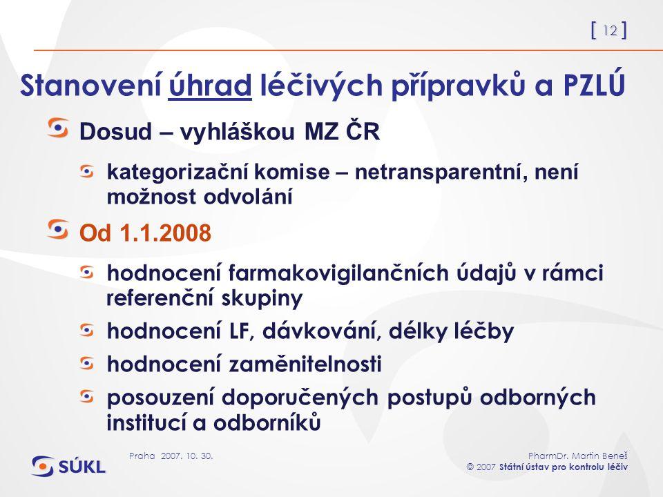 [ 12 ] PharmDr. Martin Beneš © 2007 Státní ústav pro kontrolu léčiv Praha 2007. 10. 30. Stanovení úhrad léčivých přípravků a PZLÚ Dosud – vyhláškou MZ