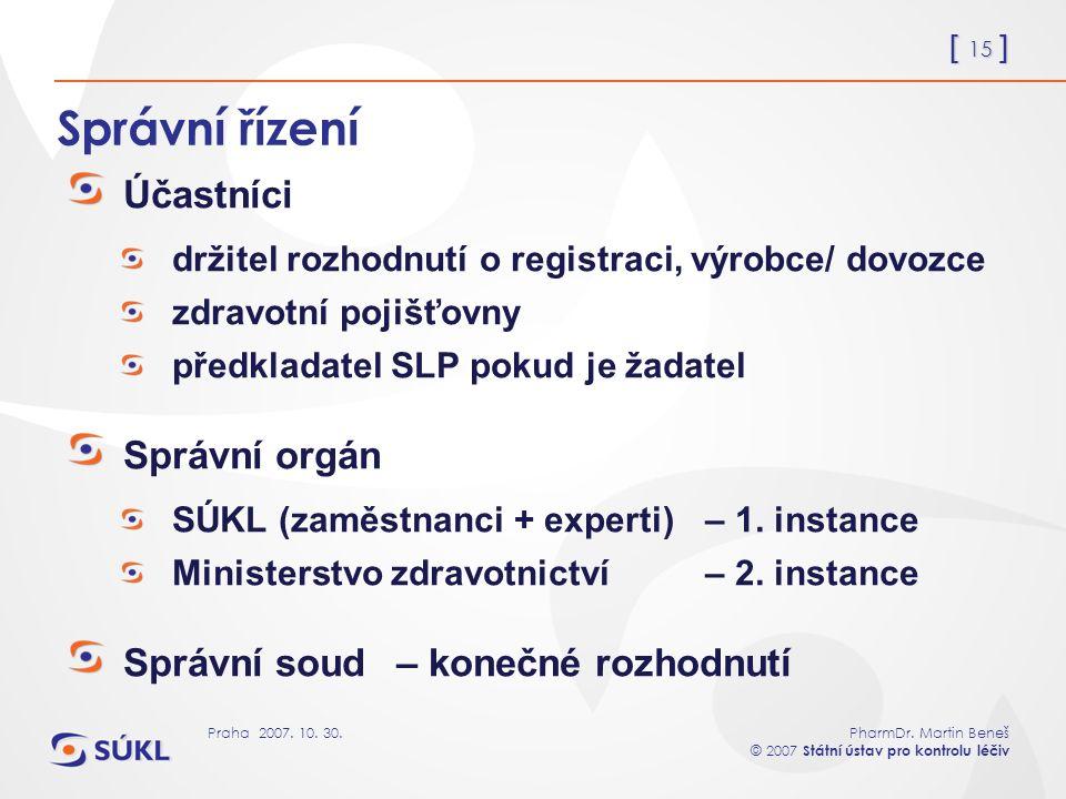 [ 15 ] PharmDr. Martin Beneš © 2007 Státní ústav pro kontrolu léčiv Praha 2007. 10. 30. Správní řízení Účastníci držitel rozhodnutí o registraci, výro