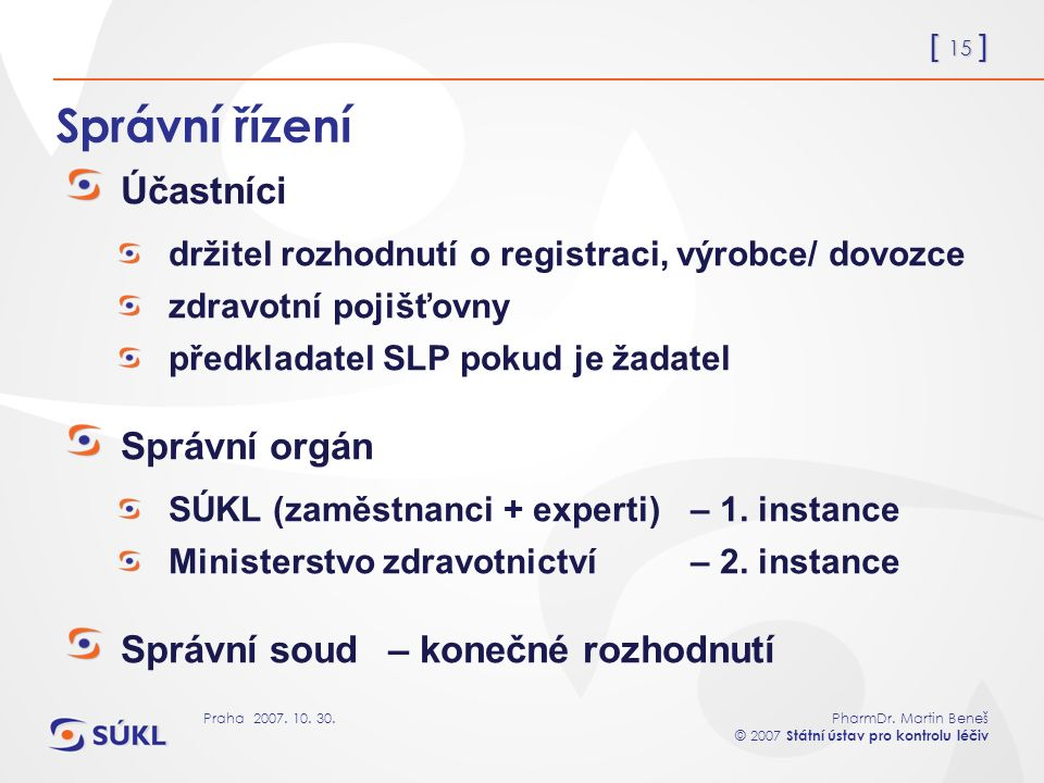 [ 15 ] PharmDr. Martin Beneš © 2007 Státní ústav pro kontrolu léčiv Praha 2007.