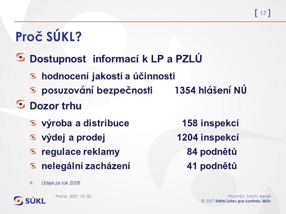 [ 17 ] PharmDr. Martin Beneš © 2007 Státní ústav pro kontrolu léčiv Praha 2007. 10. 30. Proč SÚKL? Dostupnost informací k LP a PZLÚ hodnocení jakosti