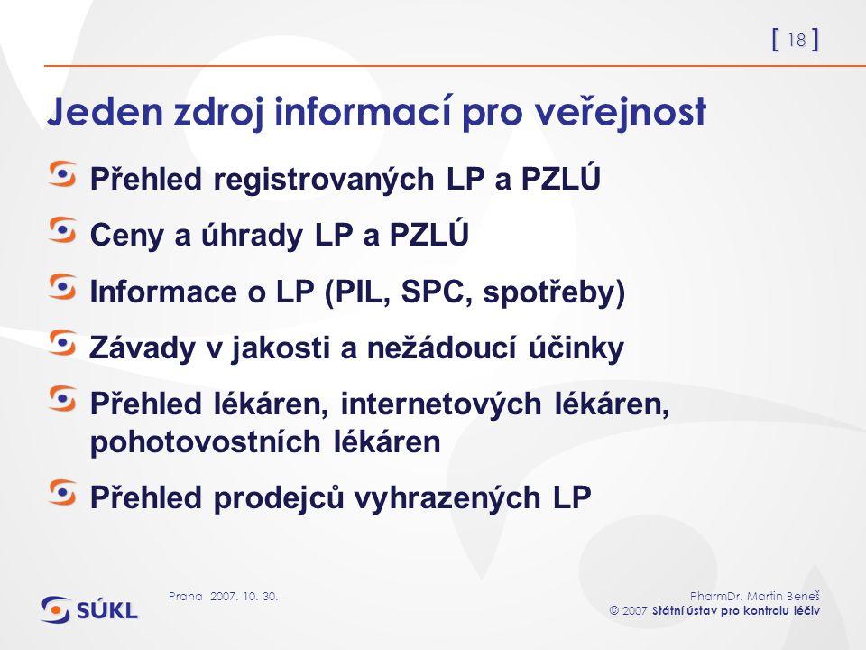 [ 18 ] PharmDr. Martin Beneš © 2007 Státní ústav pro kontrolu léčiv Praha 2007. 10. 30. Jeden zdroj informací pro veřejnost Přehled registrovaných LP