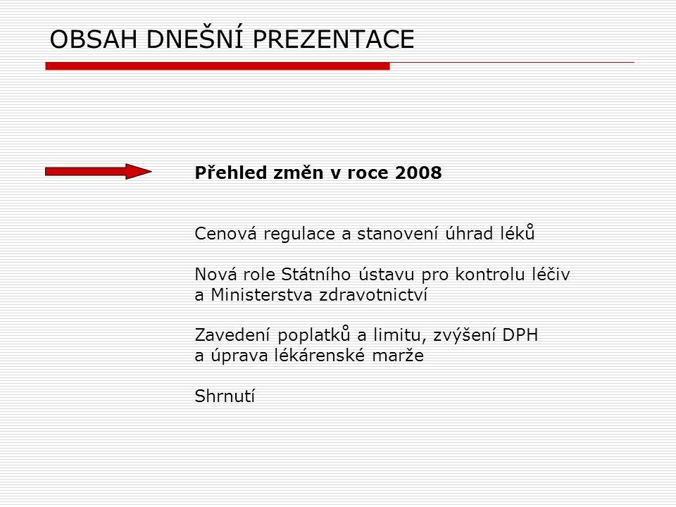 OBSAH DNEŠNÍ PREZENTACE Přehled změn v roce 2008 Cenová regulace a stanovení úhrad léků Nová role Státního ústavu pro kontrolu léčiv a Ministerstva zd