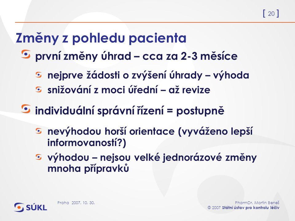 [ 20 ] PharmDr. Martin Beneš © 2007 Státní ústav pro kontrolu léčiv Praha 2007. 10. 30. Změny z pohledu pacienta první změny úhrad – cca za 2-3 měsíce