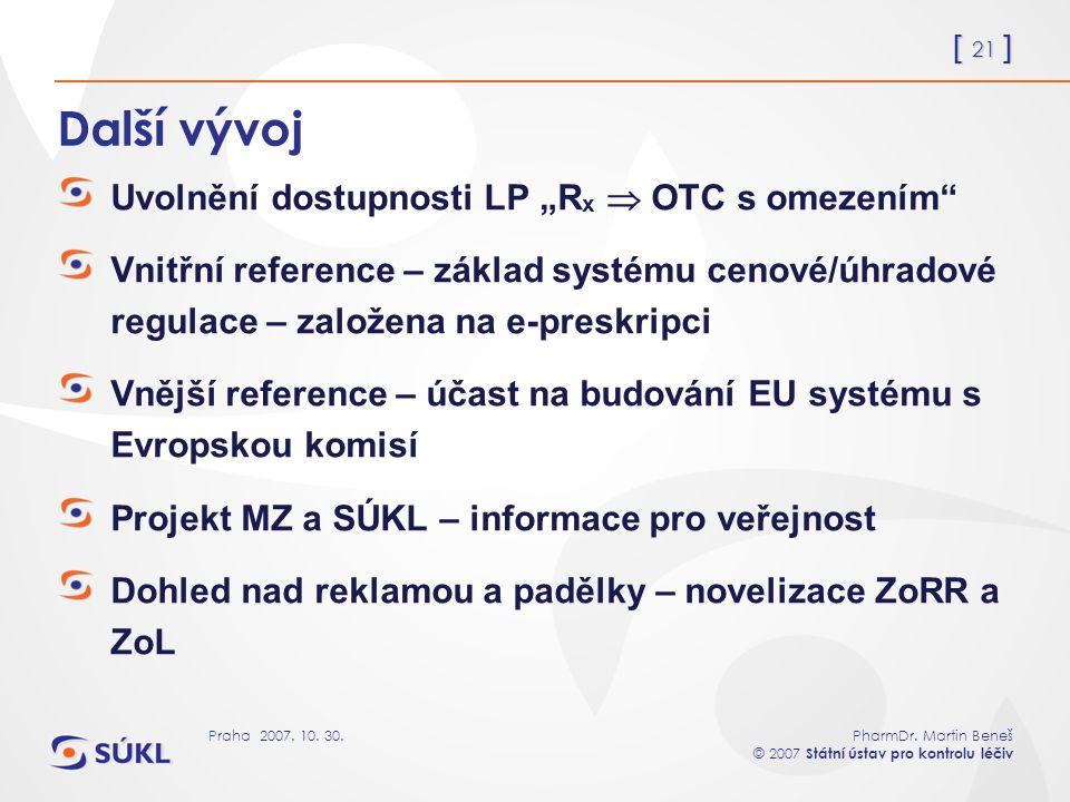 """[ 21 ] PharmDr. Martin Beneš © 2007 Státní ústav pro kontrolu léčiv Praha 2007. 10. 30. Další vývoj Uvolnění dostupnosti LP """"R x  OTC s omezením"""" Vni"""