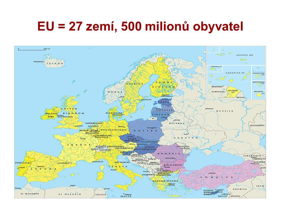 EU = 27 zemí, 500 milionů obyvatel