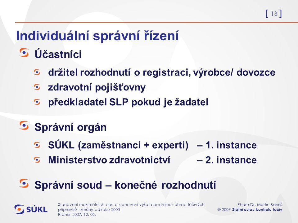 [ 13 ] PharmDr. Martin Beneš © 2007 Státní ústav kontrolu léčiv Stanovení maximálních cen a stanovení výše a podmínek úhrad léčivých přípravků - změny
