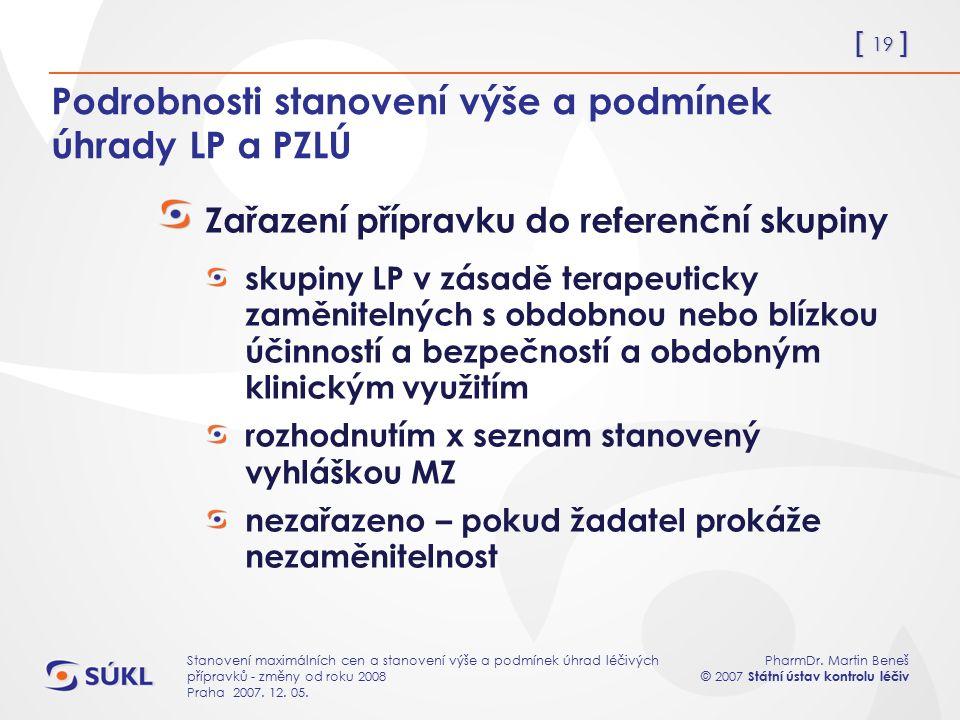 [ 19 ] PharmDr. Martin Beneš © 2007 Státní ústav kontrolu léčiv Stanovení maximálních cen a stanovení výše a podmínek úhrad léčivých přípravků - změny