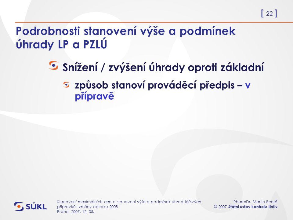 [ 22 ] PharmDr. Martin Beneš © 2007 Státní ústav kontrolu léčiv Stanovení maximálních cen a stanovení výše a podmínek úhrad léčivých přípravků - změny