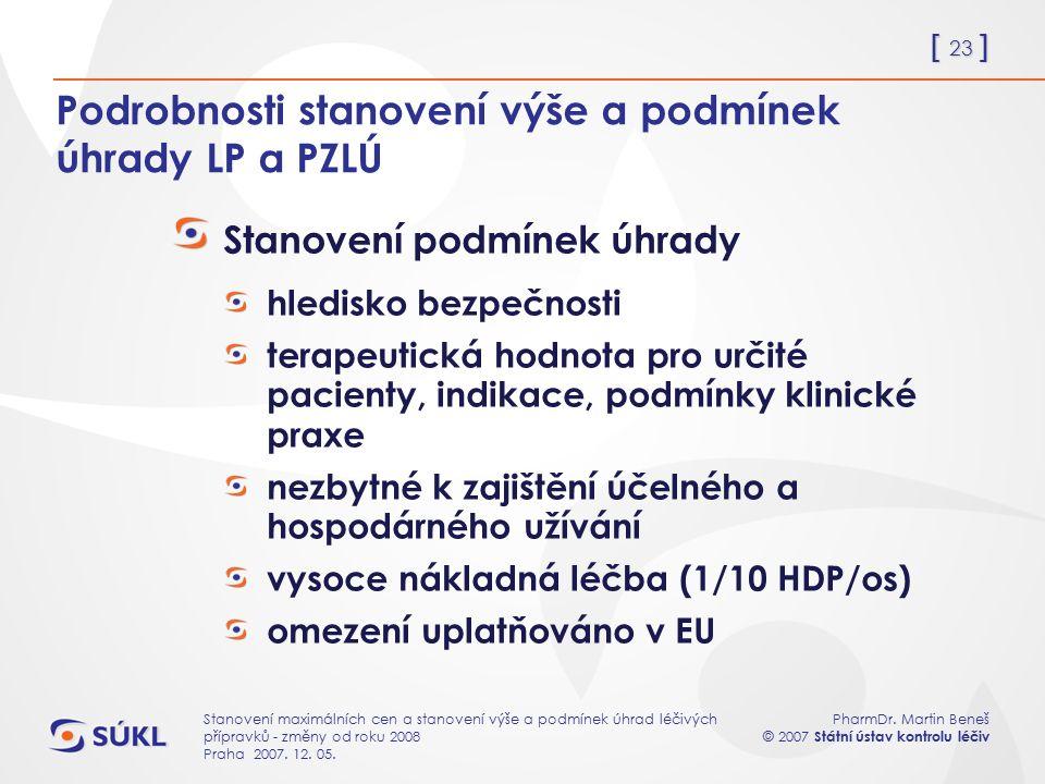 [ 23 ] PharmDr. Martin Beneš © 2007 Státní ústav kontrolu léčiv Stanovení maximálních cen a stanovení výše a podmínek úhrad léčivých přípravků - změny