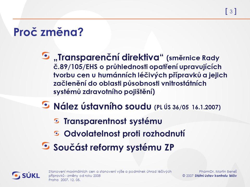 [ 3 ] PharmDr. Martin Beneš © 2007 Státní ústav kontrolu léčiv Stanovení maximálních cen a stanovení výše a podmínek úhrad léčivých přípravků - změny