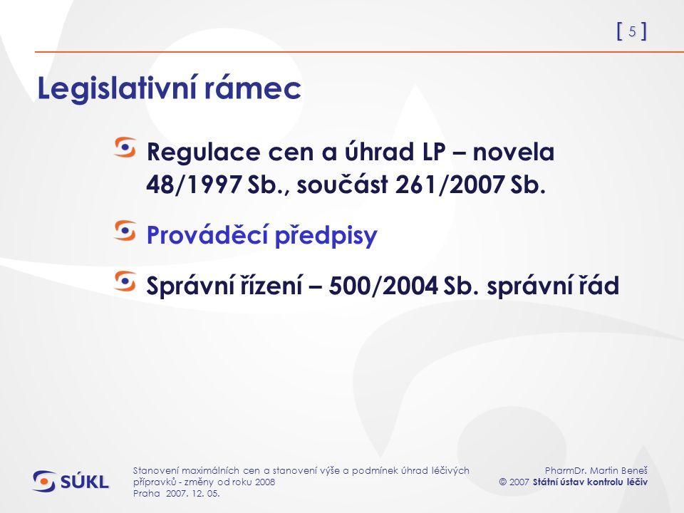 [ 5 ] PharmDr. Martin Beneš © 2007 Státní ústav kontrolu léčiv Stanovení maximálních cen a stanovení výše a podmínek úhrad léčivých přípravků - změny