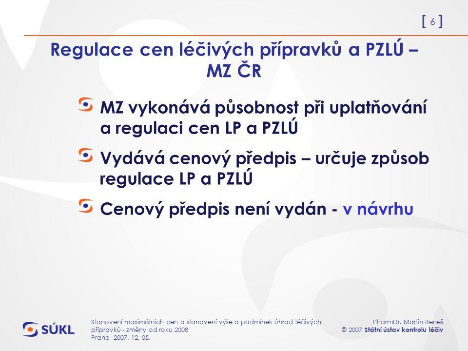 [ 6 ] PharmDr. Martin Beneš © 2007 Státní ústav kontrolu léčiv Stanovení maximálních cen a stanovení výše a podmínek úhrad léčivých přípravků - změny
