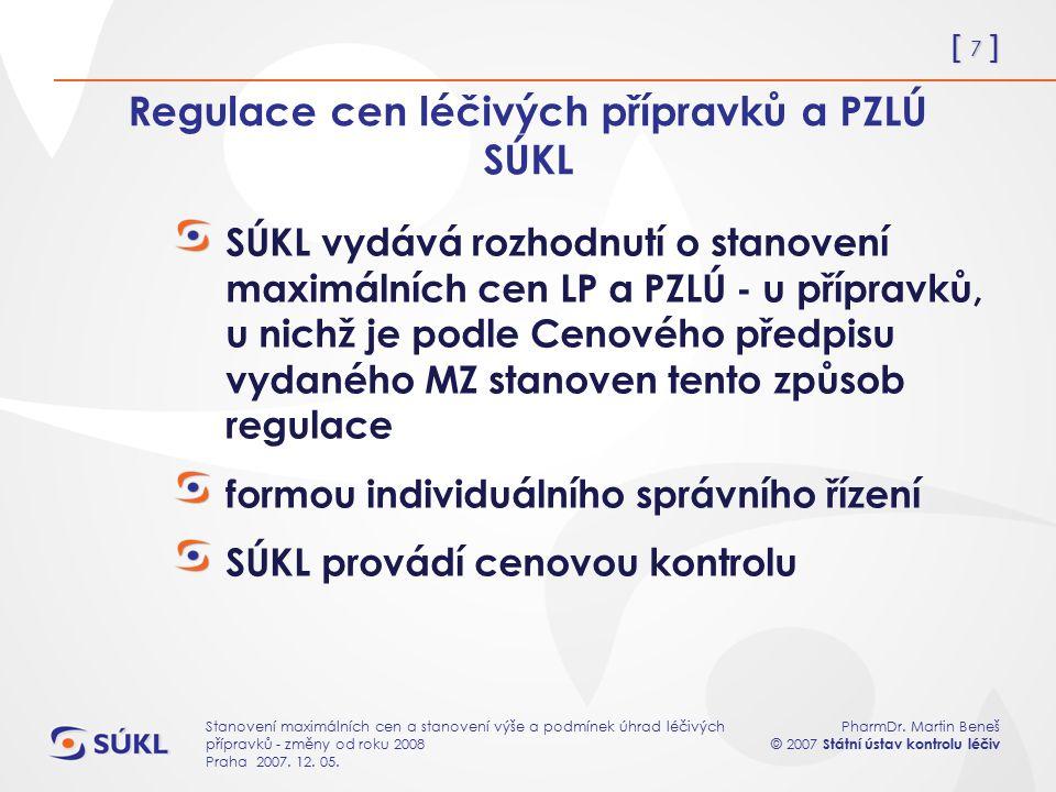 [ 7 ] PharmDr. Martin Beneš © 2007 Státní ústav kontrolu léčiv Stanovení maximálních cen a stanovení výše a podmínek úhrad léčivých přípravků - změny