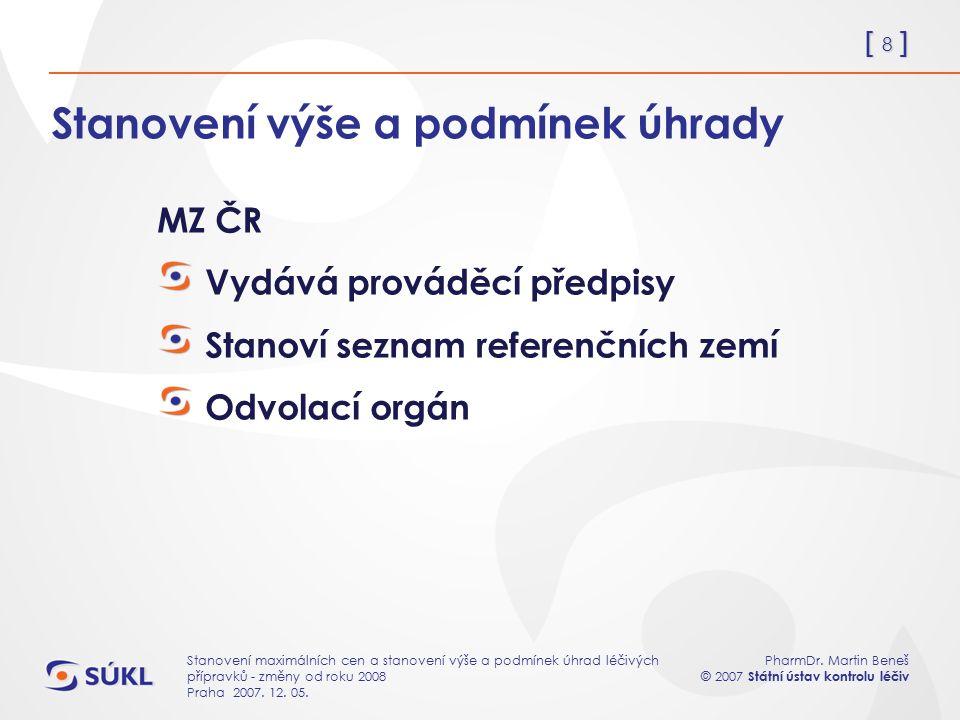 [ 8 ] PharmDr. Martin Beneš © 2007 Státní ústav kontrolu léčiv Stanovení maximálních cen a stanovení výše a podmínek úhrad léčivých přípravků - změny