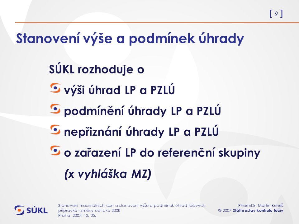 [ 9 ] PharmDr. Martin Beneš © 2007 Státní ústav kontrolu léčiv Stanovení maximálních cen a stanovení výše a podmínek úhrad léčivých přípravků - změny