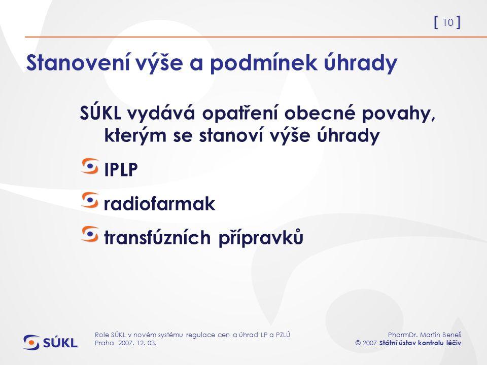 [ 10 ] PharmDr. Martin Beneš © 2007 Státní ústav kontrolu léčiv Role SÚKL v novém systému regulace cen a úhrad LP a PZLÚ Praha 2007. 12. 03. Stanovení