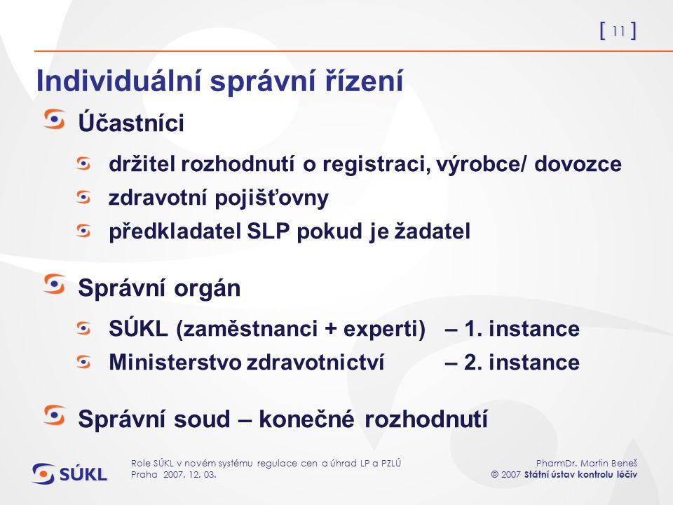 [ 11 ] PharmDr. Martin Beneš © 2007 Státní ústav kontrolu léčiv Role SÚKL v novém systému regulace cen a úhrad LP a PZLÚ Praha 2007. 12. 03. Individuá