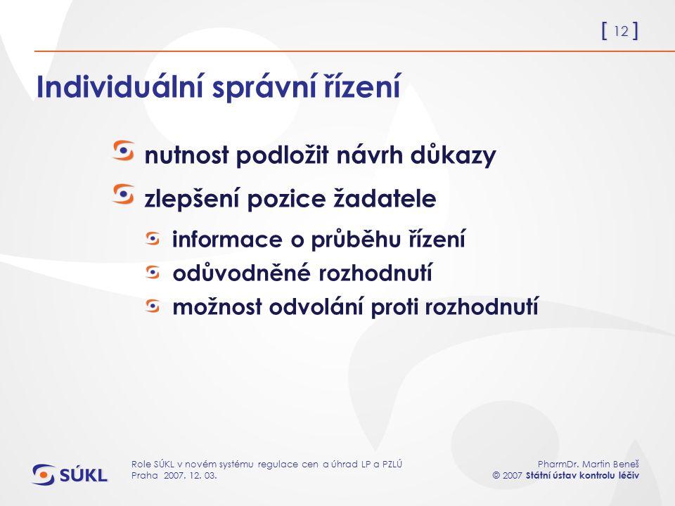[ 12 ] PharmDr. Martin Beneš © 2007 Státní ústav kontrolu léčiv Role SÚKL v novém systému regulace cen a úhrad LP a PZLÚ Praha 2007. 12. 03. Individuá