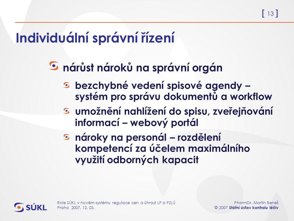 [ 13 ] PharmDr. Martin Beneš © 2007 Státní ústav kontrolu léčiv Role SÚKL v novém systému regulace cen a úhrad LP a PZLÚ Praha 2007. 12. 03. Individuá