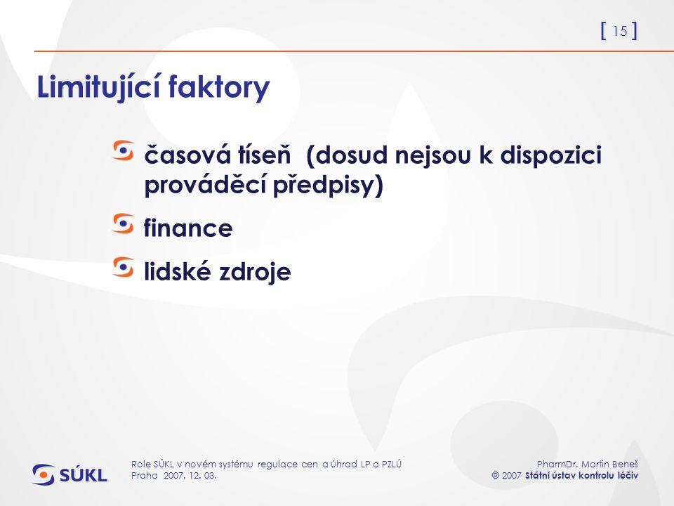 [ 15 ] PharmDr. Martin Beneš © 2007 Státní ústav kontrolu léčiv Role SÚKL v novém systému regulace cen a úhrad LP a PZLÚ Praha 2007. 12. 03. Limitujíc