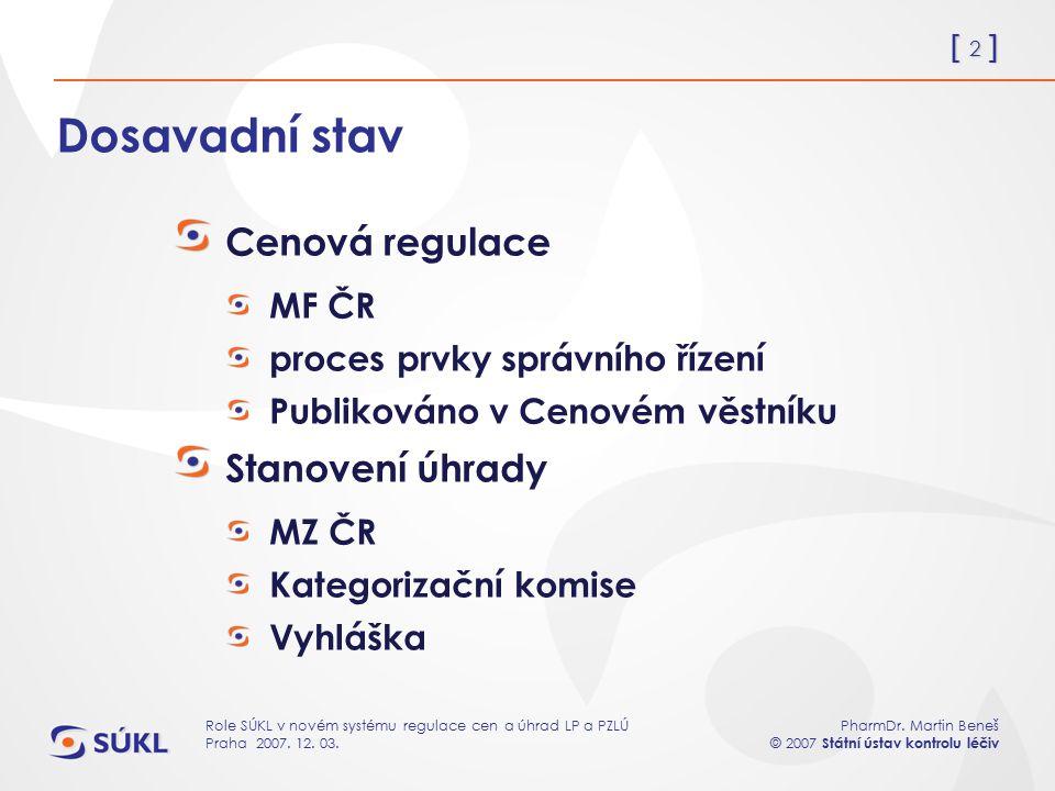 [ 2 ] PharmDr. Martin Beneš © 2007 Státní ústav kontrolu léčiv Role SÚKL v novém systému regulace cen a úhrad LP a PZLÚ Praha 2007. 12. 03. Dosavadní