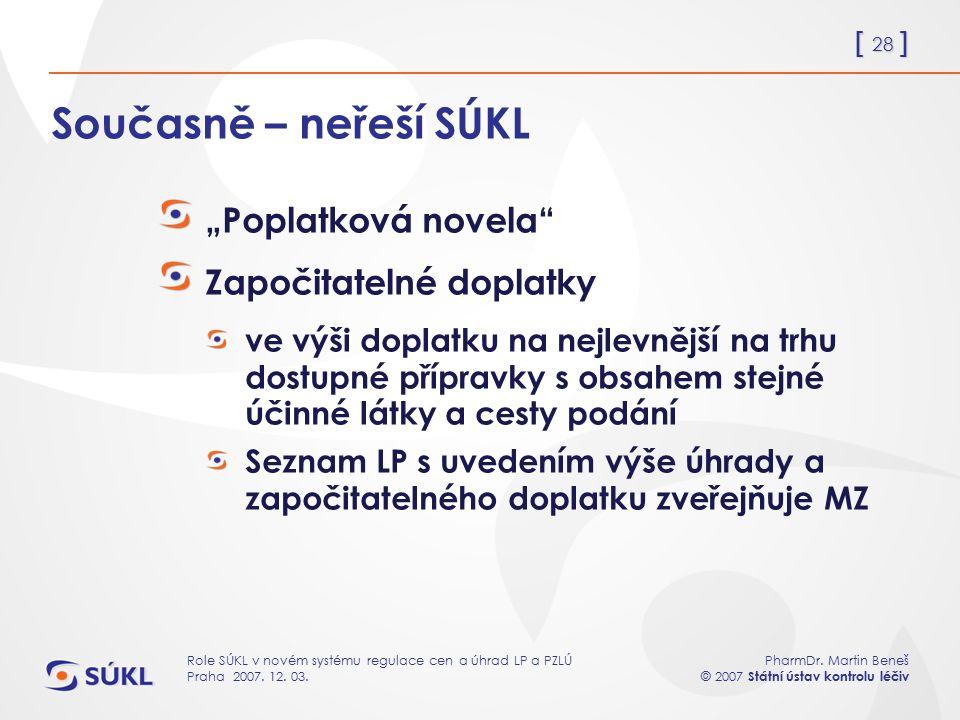 [ 28 ] PharmDr. Martin Beneš © 2007 Státní ústav kontrolu léčiv Role SÚKL v novém systému regulace cen a úhrad LP a PZLÚ Praha 2007. 12. 03. Současně