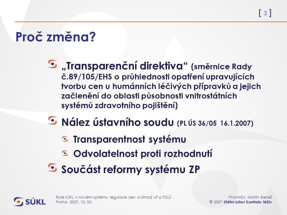 [ 3 ] PharmDr. Martin Beneš © 2007 Státní ústav kontrolu léčiv Role SÚKL v novém systému regulace cen a úhrad LP a PZLÚ Praha 2007. 12. 03. Proč změna
