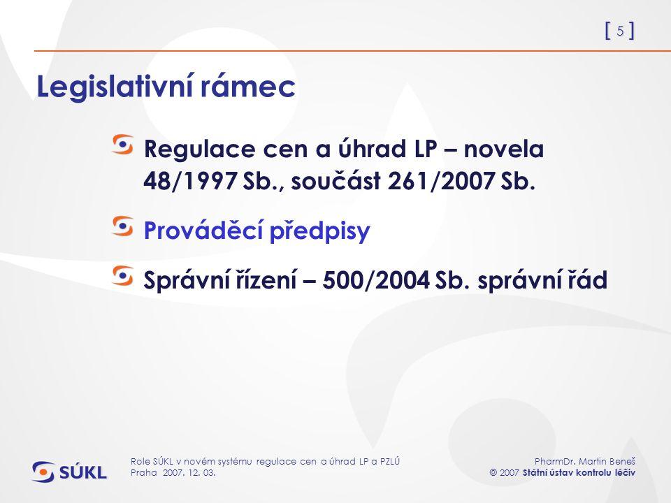 [ 5 ] PharmDr. Martin Beneš © 2007 Státní ústav kontrolu léčiv Role SÚKL v novém systému regulace cen a úhrad LP a PZLÚ Praha 2007. 12. 03. Legislativ