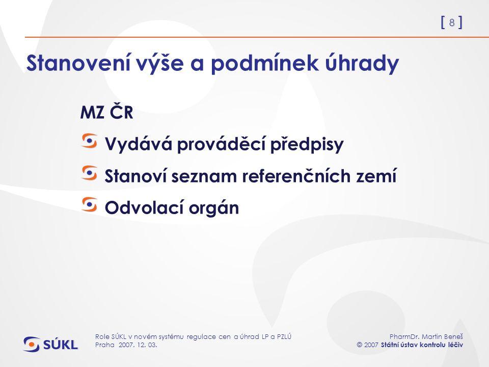[ 8 ] PharmDr. Martin Beneš © 2007 Státní ústav kontrolu léčiv Role SÚKL v novém systému regulace cen a úhrad LP a PZLÚ Praha 2007. 12. 03. Stanovení