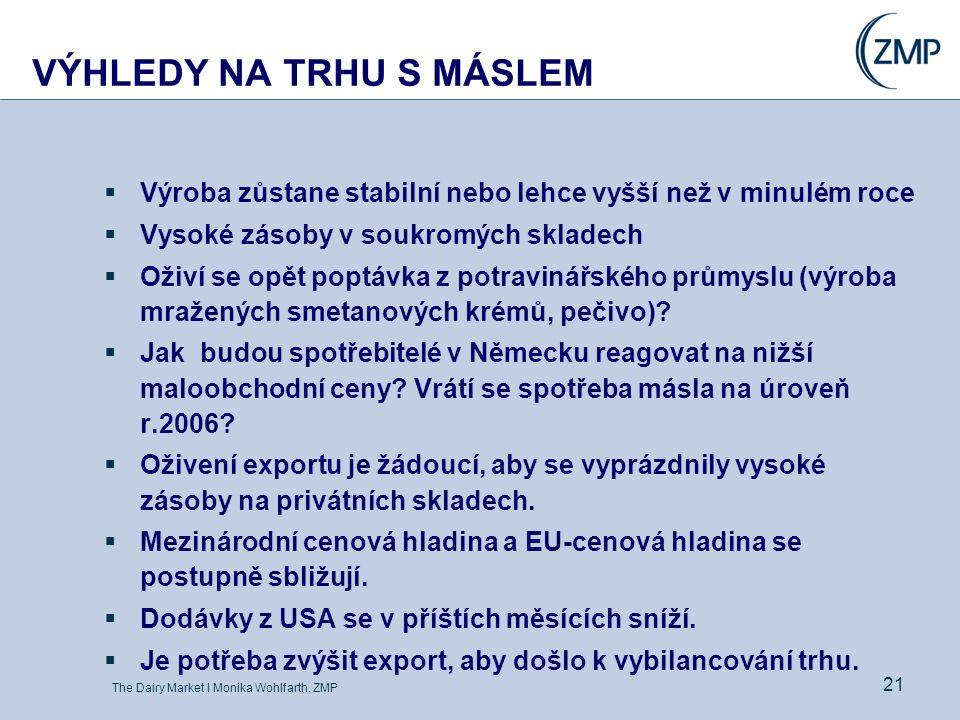 The Dairy Market l Monika Wohlfarth, ZMP 21 VÝHLEDY NA TRHU S MÁSLEM  Výroba zůstane stabilní nebo lehce vyšší než v minulém roce  Vysoké zásoby v s