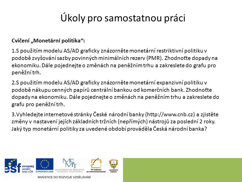 """Úkoly pro samostatnou práci Cvičení """"Monetární politika"""": 1.S použitím modelu AS/AD graficky znázorněte monetární restriktivní politiku v podobě zvyšo"""