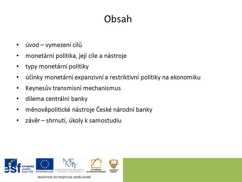 Obsah úvod – vymezení cílů monetární politika, její cíle a nástroje typy monetární politiky účinky monetární expanzivní a restriktivní politiky na eko