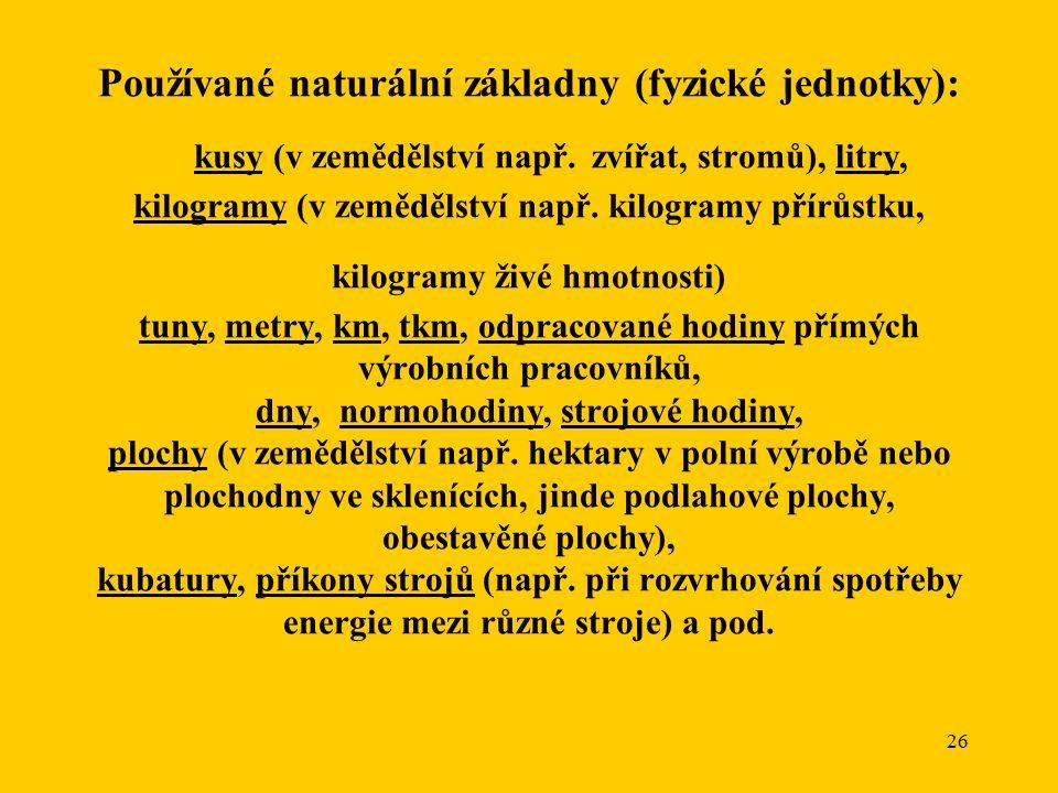 26 Používané naturální základny (fyzické jednotky): kusy (v zemědělství např.