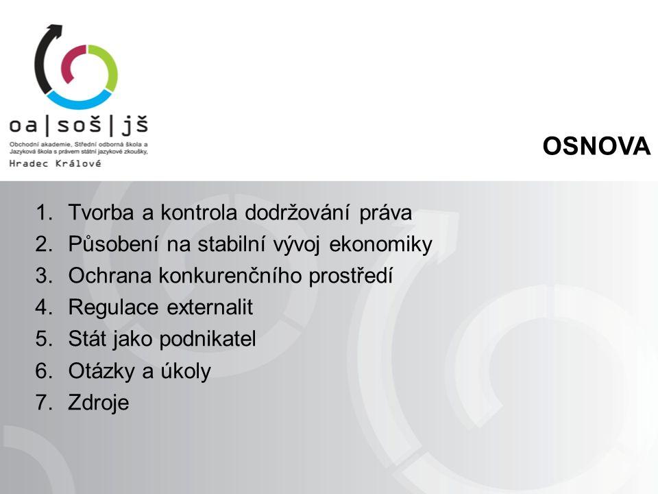 OSNOVA 1.Tvorba a kontrola dodržování práva 2.Působení na stabilní vývoj ekonomiky 3.Ochrana konkurenčního prostředí 4.Regulace externalit 5.Stát jako podnikatel 6.Otázky a úkoly 7.Zdroje