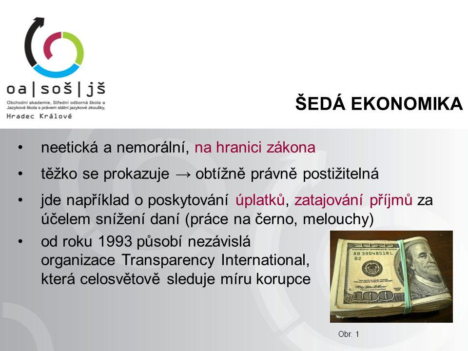 ČERNÁ EKONOMIKA je nelegální – jednoznačně porušuje zákon hospodářská kriminalita = krádeže, zpronevěry, falšování peněz, daňové podvody, prodej drog, prostituce, mafie v ČR často používán pojem tunelování = majitelé podniku si pomocí podvodů převedou podnikové peníze na své soukromé účty, podnik potom přivedou ke krachu a jeho závazky zůstanou neuhrazeny Obr.