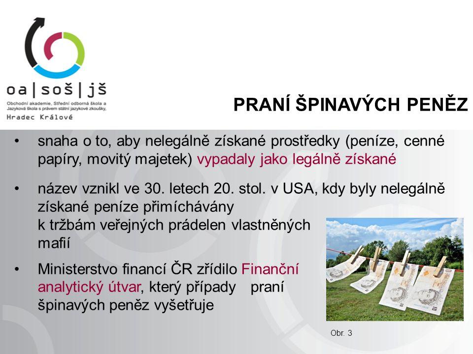 PRANÍ ŠPINAVÝCH PENĚZ snaha o to, aby nelegálně získané prostředky (peníze, cenné papíry, movitý majetek) vypadaly jako legálně získané název vznikl ve 30.