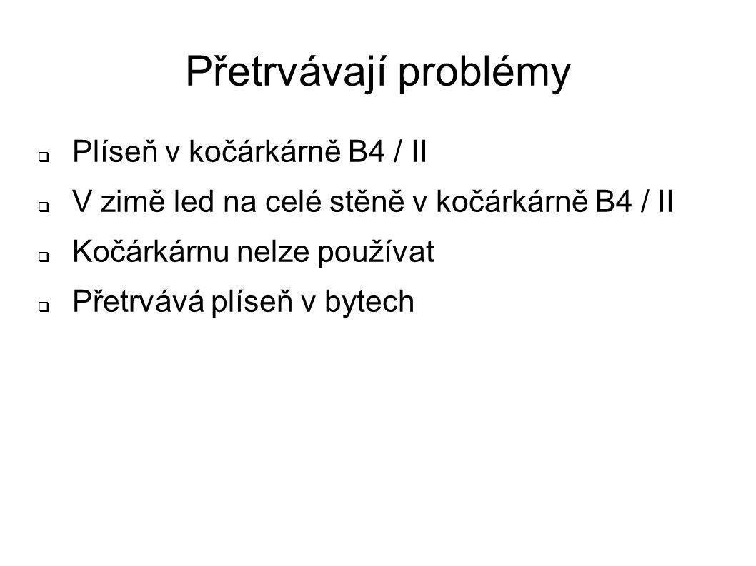 Přetrvávají problémy  Plíseň v kočárkárně B4 / II  V zimě led na celé stěně v kočárkárně B4 / II  Kočárkárnu nelze používat  Přetrvává plíseň v bytech