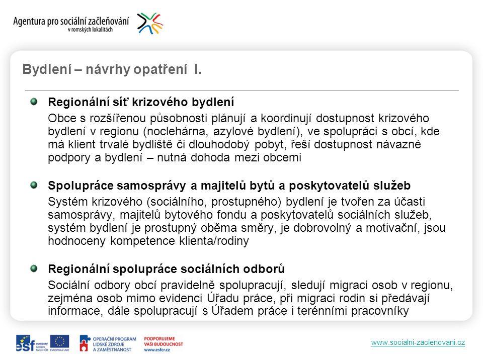 www.socialni-zaclenovani.cz Bydlení – návrhy opatření I. Regionální síť krizového bydlení Obce s rozšířenou působnosti plánují a koordinují dostupnost