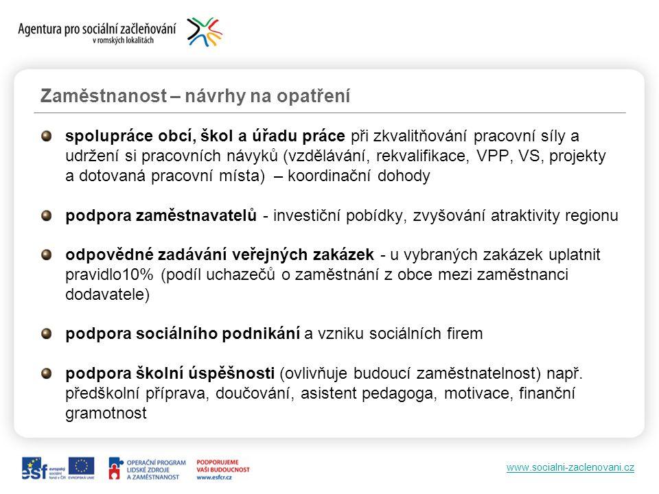 www.socialni-zaclenovani.cz Zaměstnanost – návrhy na opatření spolupráce obcí, škol a úřadu práce při zkvalitňování pracovní síly a udržení si pracovn