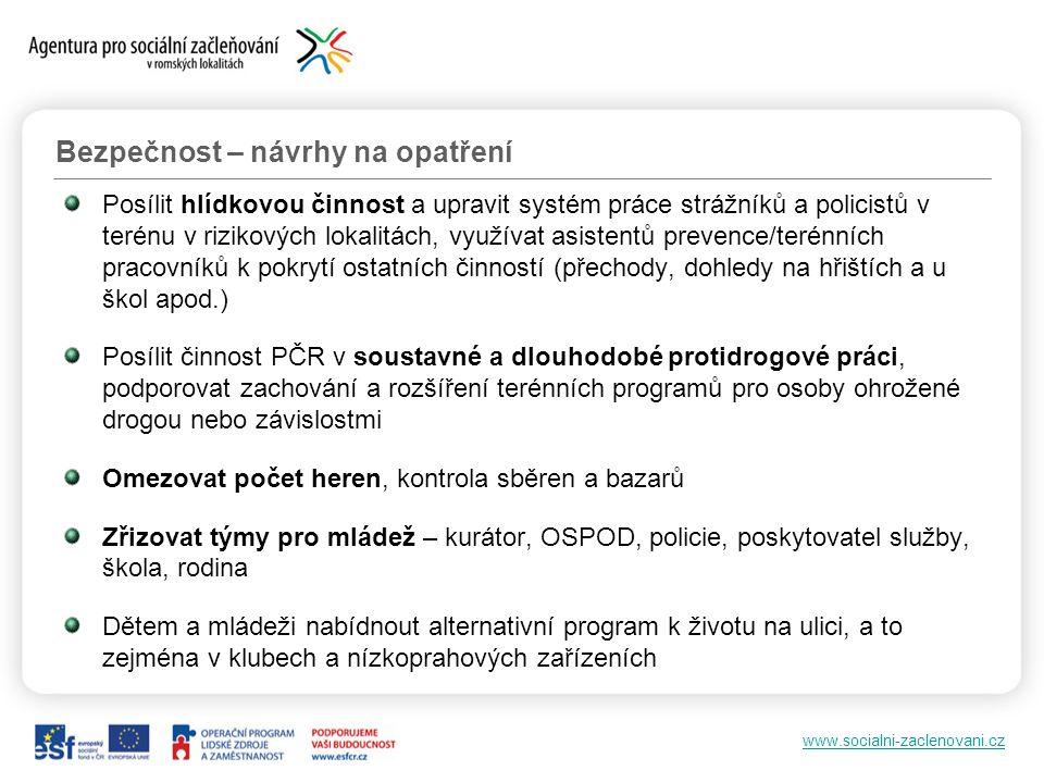 www.socialni-zaclenovani.cz Posílit hlídkovou činnost a upravit systém práce strážníků a policistů v terénu v rizikových lokalitách, využívat asistent