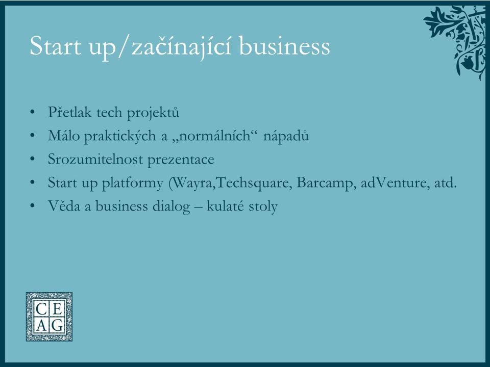 """Start up/začínající business Přetlak tech projektů Málo praktických a """"normálních"""" nápadů Srozumitelnost prezentace Start up platformy (Wayra,Techsqua"""