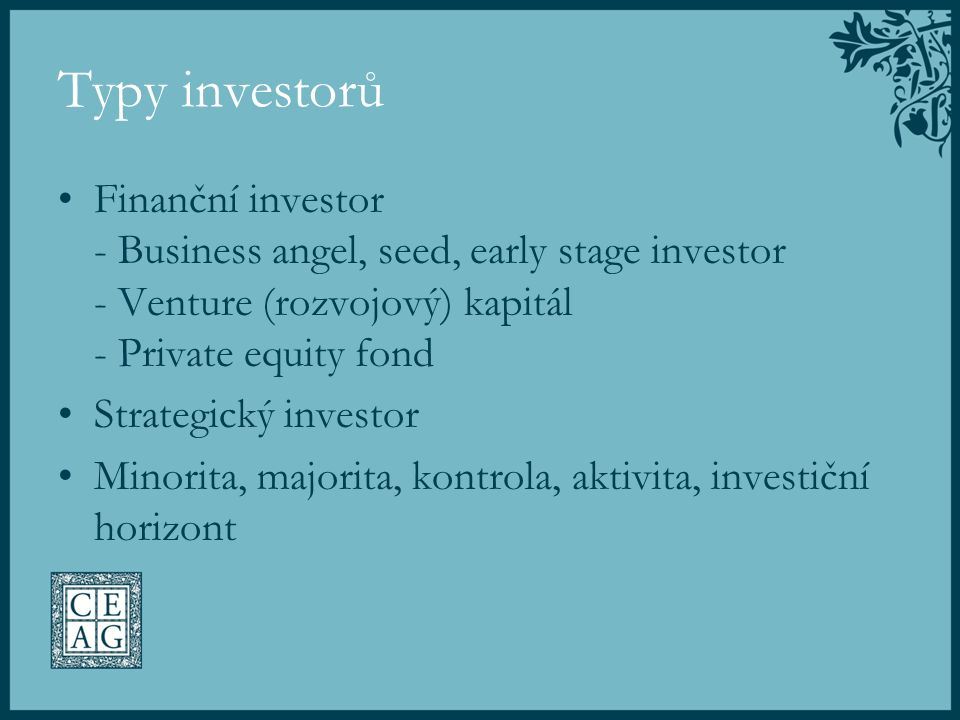 Typy investorů Finanční investor - Business angel, seed, early stage investor - Venture (rozvojový) kapitál - Private equity fond Strategický investor